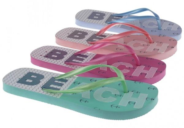 ".Da.-Zehengreifer, PE-Sohle, ""BEACH"", PVC, pink+fuchsia+grün+blau"