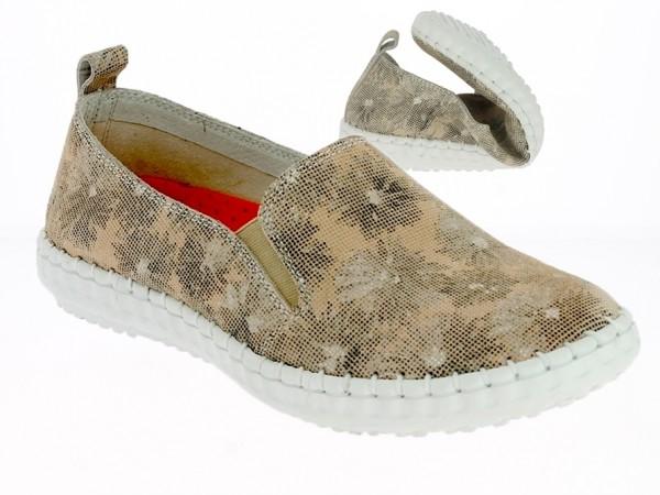 .Da.-Schuh, Gummisohle, 2x. kl. Grummizug, bedrucktes Leder, Leder-Innensohle, Blumenmuster, beige
