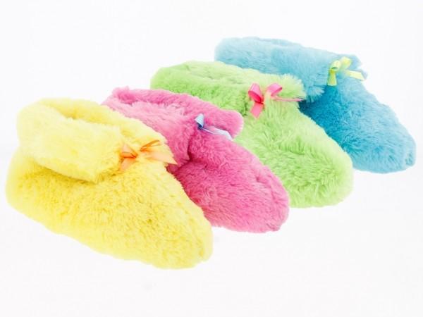 .Da.-Hausschuh, TPR-Sohle, m. Schleife, gelb + pink + blau + grün