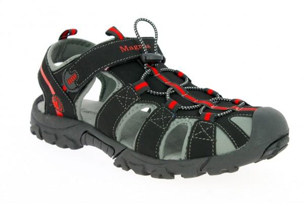 .He.-Sandalette, TPR-Sohle, 1 x Klett, Band z.verstellen, PU/Nubuck, schwarz-rot
