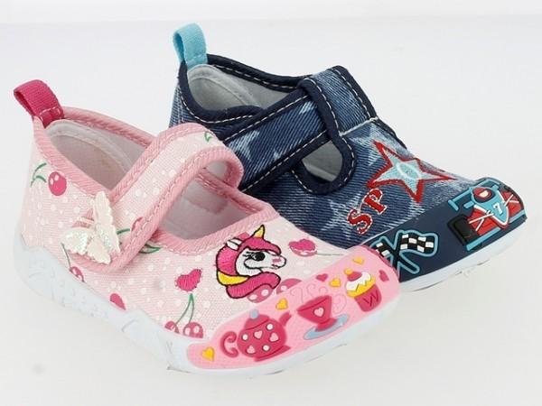 .Ki.-Freizeitschuh, PVC-Sohle, 1x Klettverschl., Textil, bestickt, navy(130-0006-S1) + pink (130-000