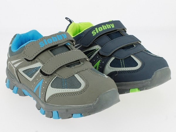 .Ki.-Sportschuh, TPR-Sohle, 2 x Klett, PU+Mesh, navy-h.grün+grau-blau
