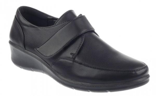 .Da.-Schuh, PU-Sohle, 1x Klettverschluß, Lederinnensohle, PU, schwarz