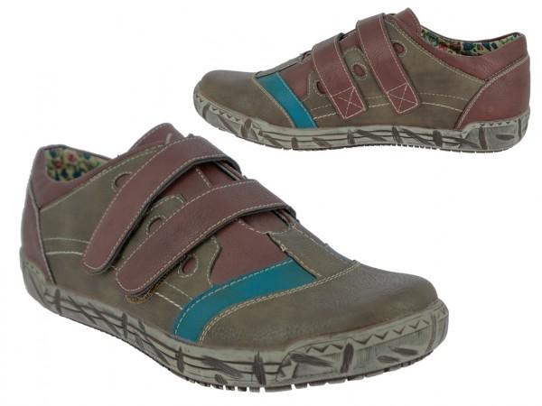 .Da.-Schuh, 2x Klettverschl., PU, Blumenmuster Innensohle, PU-Sohle, grau-petrol-bordo