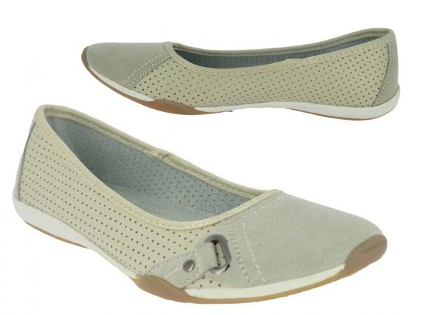 .Da.-Schuh, Slipper, Leder, TPR-Sohle, Lederinnensohle, Lochmuster, beige