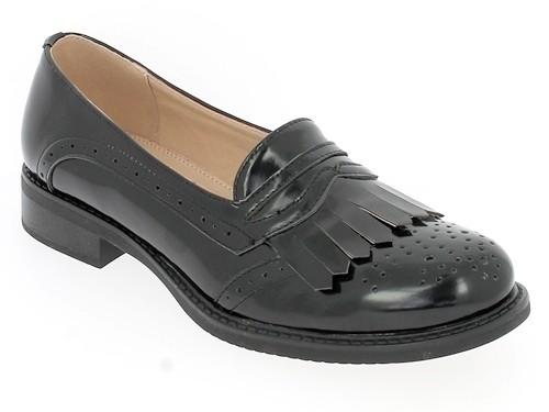 .Da.-Schuh, PU, Slipper, Zierlöcher,-fransen, TPR-Sohle, schwarz