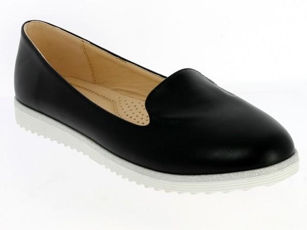 .Da.-Schuh, TPR-Sohle, Slipper, Silberumrandung, PU, schwarz