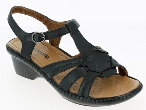 .Da.-Sandalette, mit Schnalle, Keilabsatz, PU-Sohle, schwarz