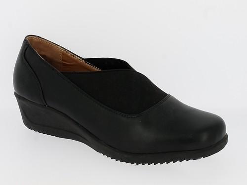 .Da.- Schuh, Slipper, TPR-Sohle, m. Keilabsatz, PU, extra breiter Gummizug über Spann, schwarz