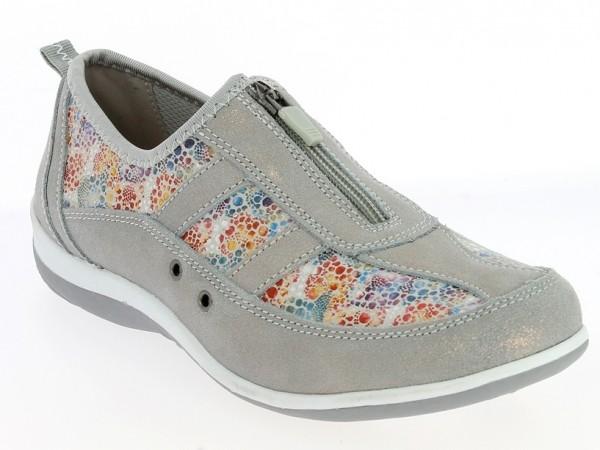 .Da.-Schuh, TPR-Sohle, Reißverschluss, bedrucktes Leder, Leder-Innensohle., grau-bunt