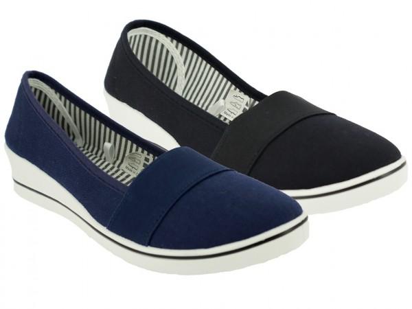 .Da.-Leinenschuh, Slipper, 1 x Gummizug, PVC-Keilsohle, schwarz+blau