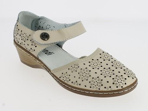 .Da.-Sandalette, Leder, vorn zu, Riemen mit Klett und Zierknopf, Lochmuster, PU-Sohle, beige