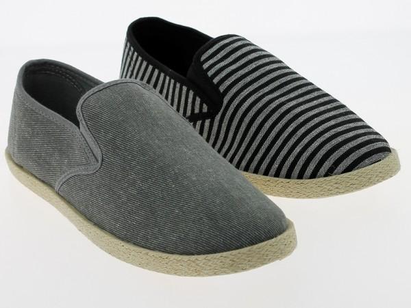 .He.-Leinenschuh, Slipper, PVC-Sohle, 2 x Gummizug, mit Sisalrand, grau+schwarz-weiß
