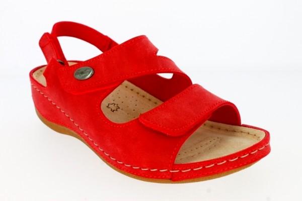 .Da.-Sandalette, Tr, PU-Sohle, 3 x Klettverschluss, Sling, Lederinnensohle, PU, rot