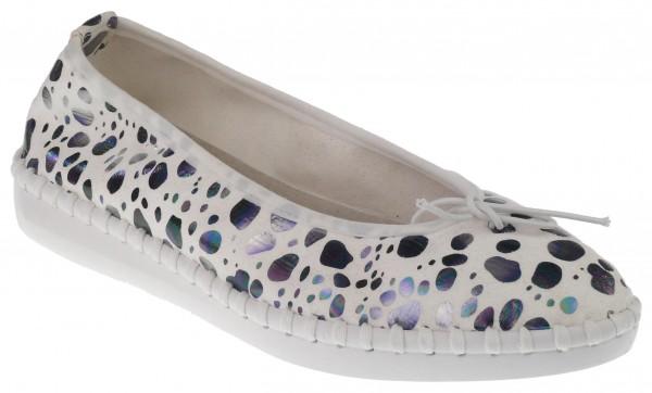 .Da.-Schuh, ultraflex. Gummisohle, Slipper, kl. Zierschleife, Leder-Wechselsohle, Microfaser, weiß-s