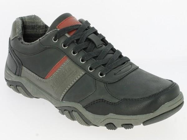 .He.-Schuh, TPR-Sohle, Schnürer, farbliche Akzente, Schriftzug, PU in Lederoptik, schwarz-grau