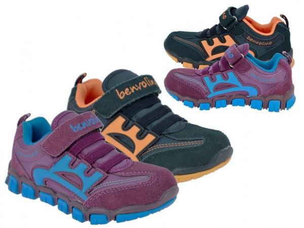 .Ki.-Sportschuh, Wildleder+Mesh, 1 x Klett, Gummizug, TPR-Sohle, burgund-blau + navy-orange
