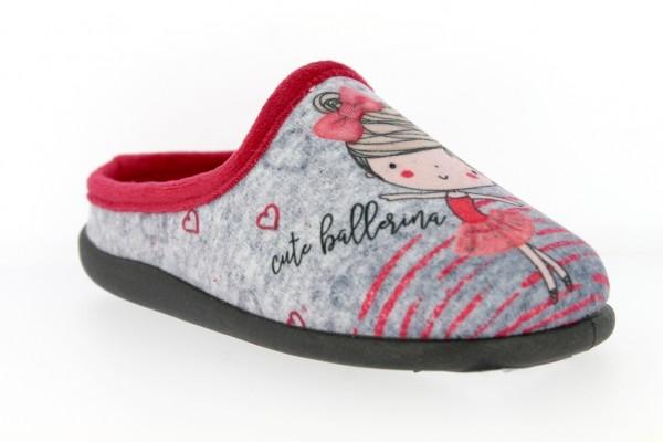 .Ki.-Pantoffel, Sp., PU-Sohle, Aufdruck: Ballerina, herausnehmb.Innensohle, Polarfleece, grau-rot