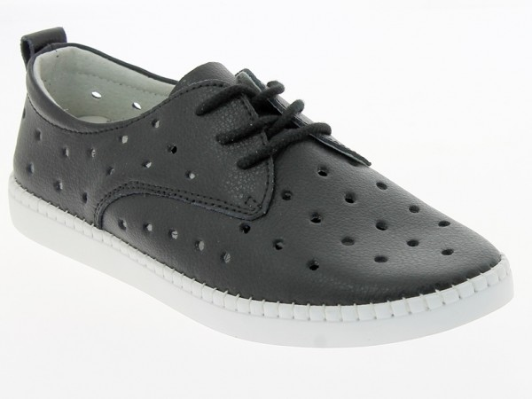 .Da.-Schuh, Gummi-Sohle, Lederinnenausst., Schnürer, Lochmustrer, Leder, schwarz