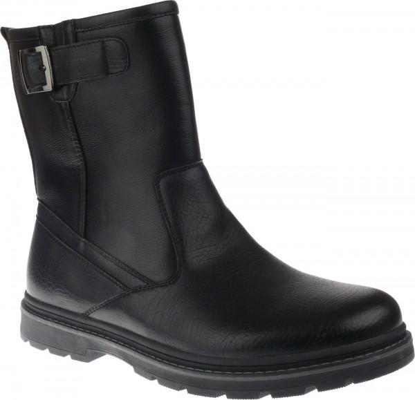 He.-Stiefel, TPR--Sohle, Reißverschluss, Zierschnalle, Warmfutter, PU, schwarz
