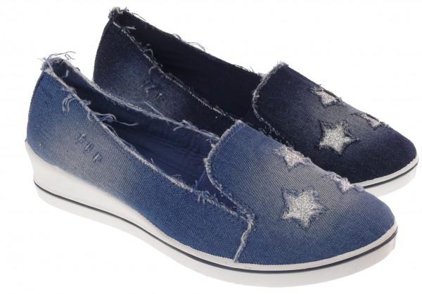 .Da.-Freizeitschuh, PVC-Keilsohle, Slipper, m. Sternen, Jeansstoff, hl.blau + blau