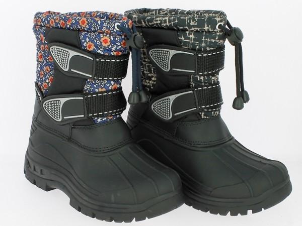 .Ki.-Stiefel, TPR-Galosche, mit Band u. 2 x Klett, gefüttert,schwarz-braun+schwarz-blau gemustert