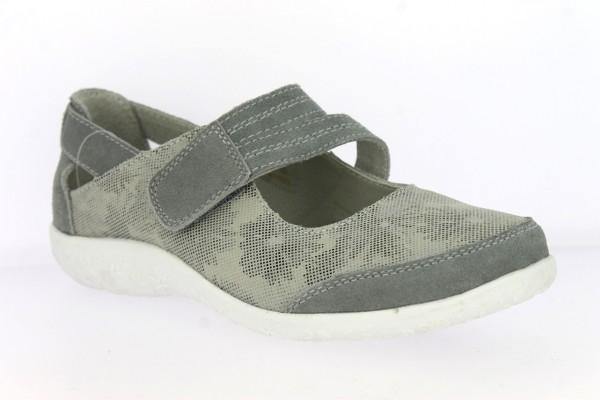 .Da.-Schuh, TPR-Sohle, Riemen m. Klett, Lederinnensohle, bedruckt, Wildleder, grau