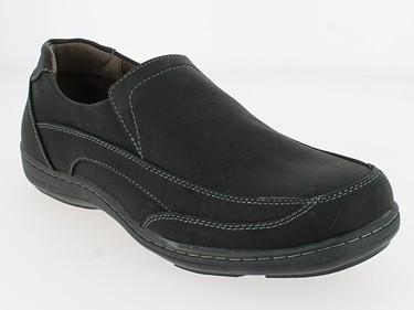 .He.- Schuh, Slipper, PVC-Sohle, Gummizug, Ziernähte, schwarz