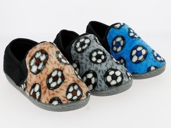.Ki.-Hausschuh, TPR-Sohle, Fußbälle, Plüsch, grau-schwarz + blau-schwarz + braun-schwarz
