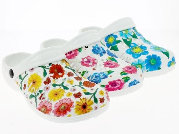 Da.-EVA-Clogs, SLOBBY, mit Blumen bedruckt, weiß-fuchsia+weiß-gelb+weiß-blau