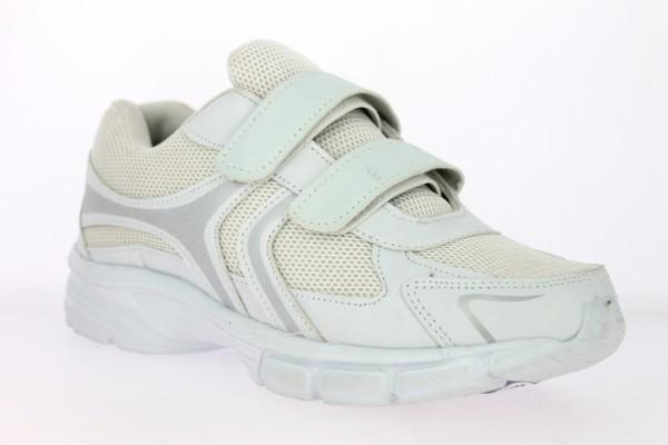 .He.-Sportschuh, weiße EVA-Sohle, 2x Klett, PU+Mesh, weiß