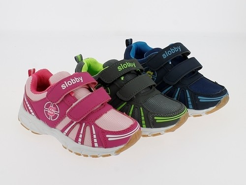 .Ki.-Sportschuh, PU+Mesh, 2 x Klett, TPR-Sohle, fuchsia-pink+grün-grau+blau-navy