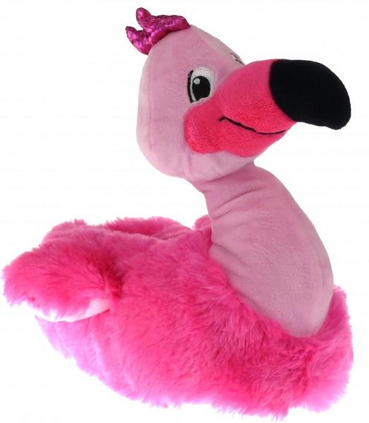 .Da.-Tierhausschuh, Teppich-Sohle, Flamingo, Plüsch, pink