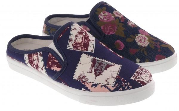 .Da.-Clog, Textil, m. Blumen und Bildern, 2 x Gummizug, PVC-Sohle, blau (Blumen) + blau(Bilder)