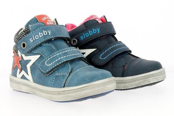 .Ki.-Schuh, TPR-Sohle, 2x Klettverschluss, PU, Samt Innenfutter, navy + blau