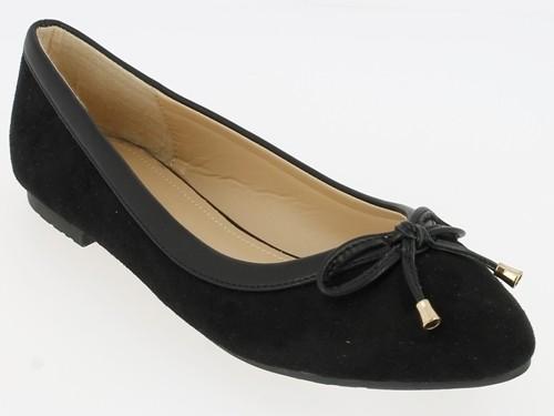 .Da.-Schuh, Slipper, Ballerina, Wildleder-Imitat, m. Schleife, TPR-Sohle, schwarz
