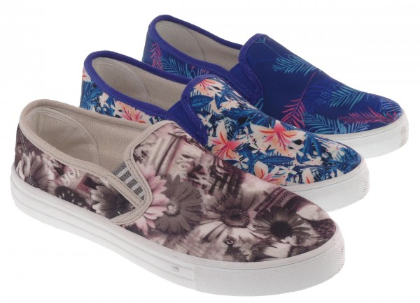 .Da.-Freizeitschuh, 2 x Gummizug, Textil, PVC-Sohle, blau mit Blumen + grau mit Blumen + blau mit Fa