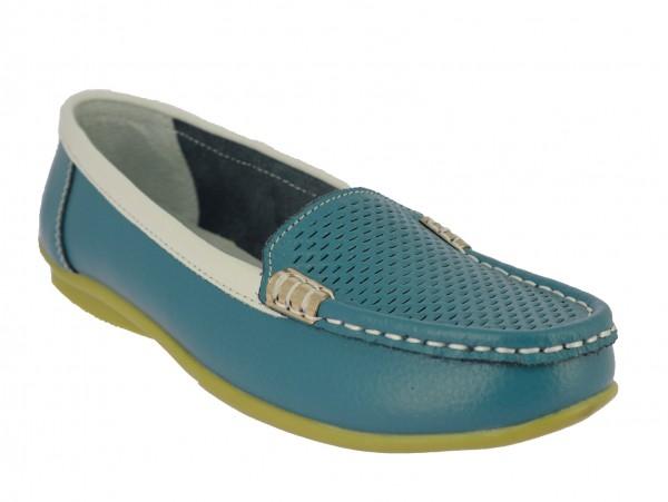 .Da.-Schuh, Slipper, Leder, TPR-Sohle, Lederinnensohle, blau