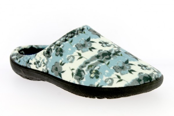 .Da.-Pantoffel, TR, Textil mit Blumen, PU-Sohle, blau-grau-weiß