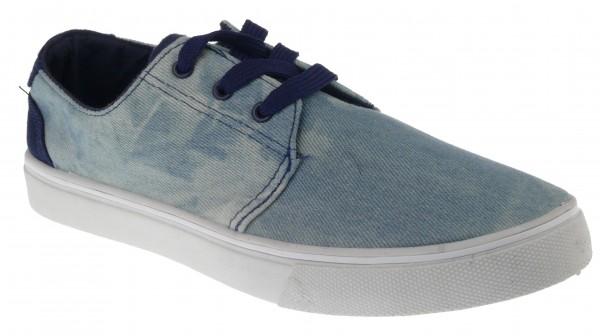 .He.-Leinenschuh, Schnürer, PVC-Sohle, Jeansstoff gewaschen, blau