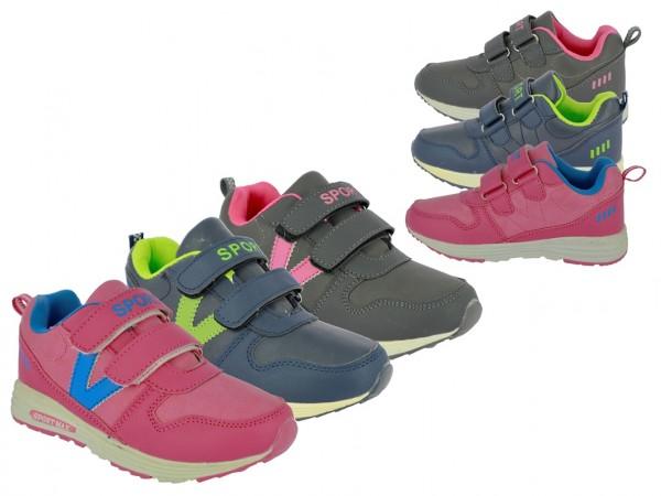 ".Ki.-Sportschuh, TPR-Sohle, 2 x Klett, ""Sport"", PU, grau-fuchsia + navy-green + fuchsia-blau"