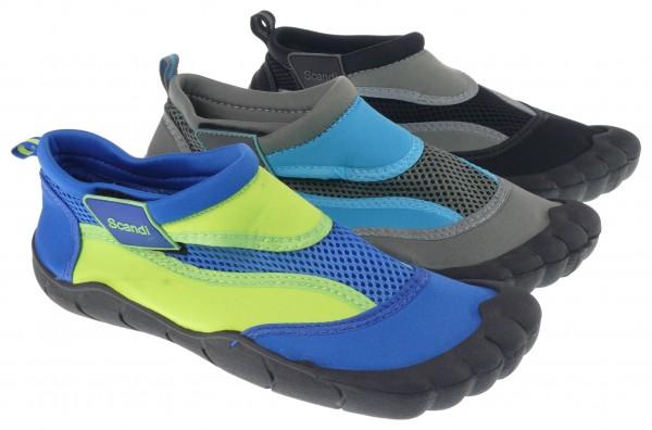 .Da./Bu.-Badeschuh, TPR-Sohle, Klettverschluss, Polyester, blau-grün + schwarz-grau + grau-blau