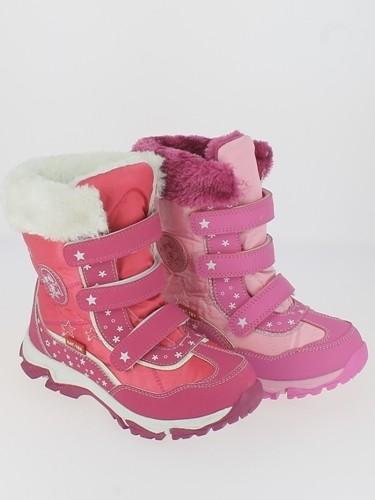 Ki.-Stiefel, TPR-Sohle, Kat-Tex, 3x Klett, PU+Textile, Warmfutter, fuchsia + pink