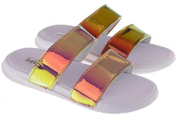 .Da.-Badepantolette, EVA, 2 Bandagen, metallic Farben