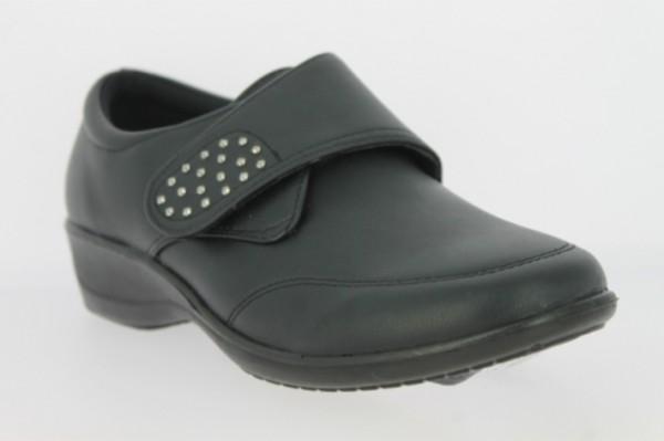 .Da.-Schuh, PU-Sohle, Klettverschluss mit Glitzersteinen besetzt, Ziernähte, PU, schwarz