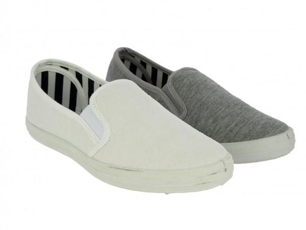 .Da.-Slipper, PVC-Sohle, 2 kl. Gummizüge, Textil, weiß+grau
