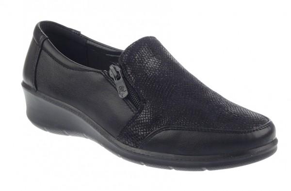 .Da.-Schuh, PU-Sohle, Slipper, 1x Gummizug+1 kl.Reißverschl., Lederinnensohle, PU m. Prägemuster, sc