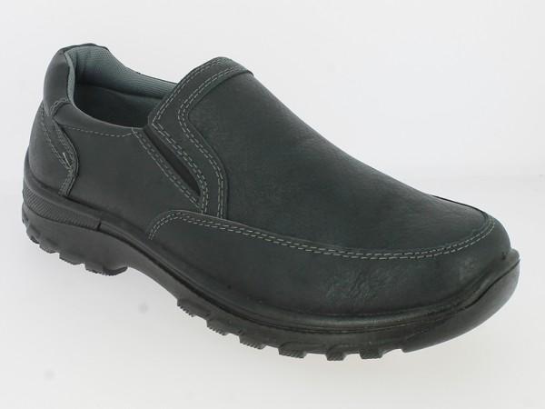 .He.-Schuh, PU-Sohle, Slipper, 2 x Gummizug, Strukturmuster, PU, schwarz