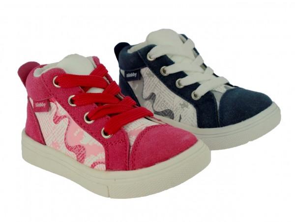 .Ki.-Schuh, PU/Textil, Schnürer, seitl. Reißverschl., Aufdruck, TPR-Sohle, navy-weiß+pink-weiß