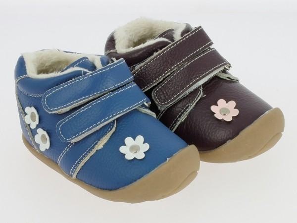 .Ki.-Schuh, TPR-Sohle, 2 x Klett, Leder, gefüttert, m. Blumenappl., blau + lila